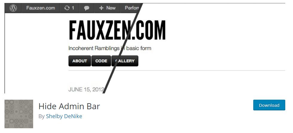 Hide Admin Bar plugin
